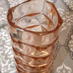 Vintage French, pink depression glass vase